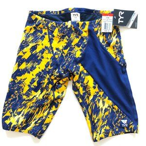 TYR Mens Glisade Jammer, Navy/Gold, Size 34